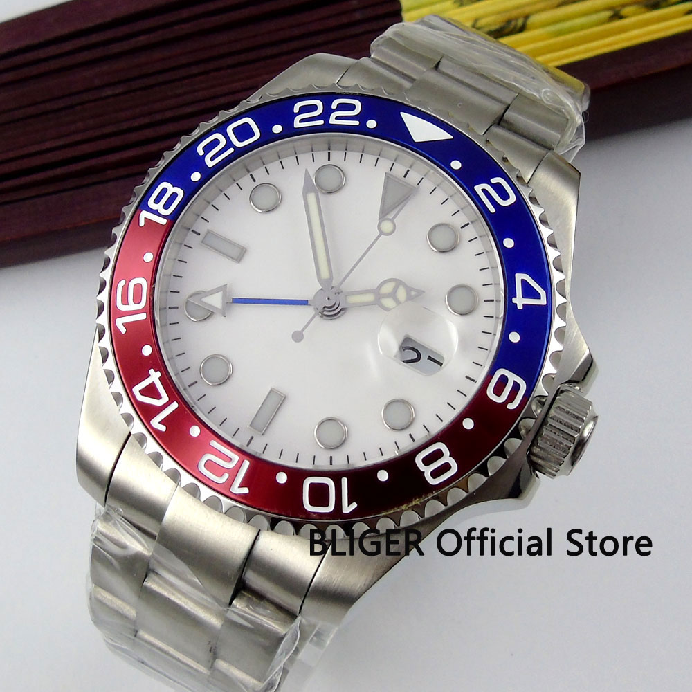 BLIGER 43MM White Sterile Dial Blue Red Rotating Bezel GMT Function Sapphire Crystal Solid Automatic Movement Mens Watch B314BLIGER 43MM White Sterile Dial Blue Red Rotating Bezel GMT Function Sapphire Crystal Solid Automatic Movement Mens Watch B314