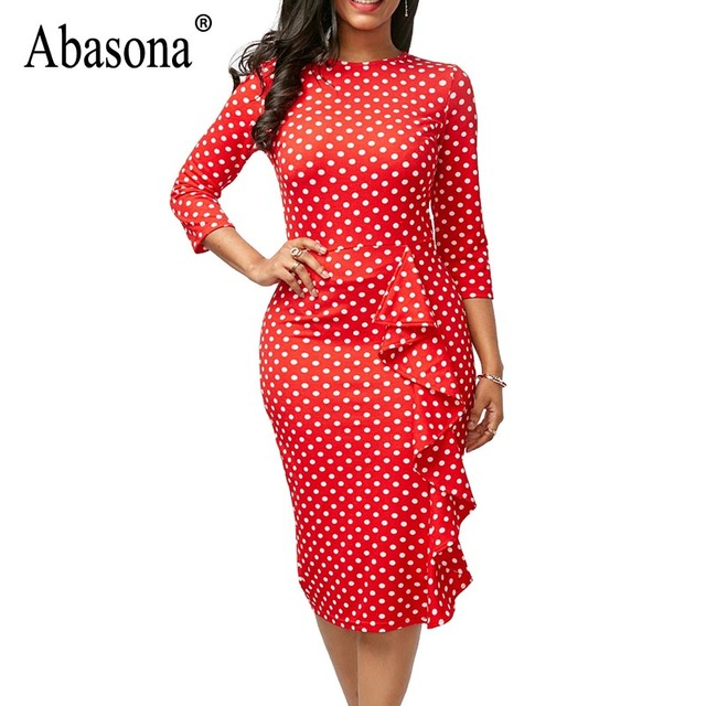 Abasona Autumn Vintage Women Dresses Plus Size Women Polka Dot Dress ...
