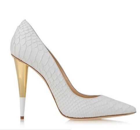 Женские туфли лодочки из аллигатора на высоком каблуке с острым носком; цвет золотой, белый; вечерние женские туфли на каблуке; 2017 - 2