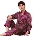 A cuadros para Hombres Pijamas de Seda Pijama de Manga Larga ropa de Dormir Pijamas Sexy Pijamas Masculinos Primavera Verano Bata Camisón de Satén Chino