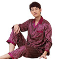 Xadrez Pijama Homens de Seda do Pijama Define Manga Comprida Pijamas Sexy Pijamas Masculinos Primavera Verão Sleepwear Camisola De Cetim Chinês Robe