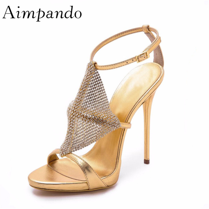 Diamond Rhomboidal Cross Star T-strap Stiletto Heel Open Toe Gold Silver Rhinestone Gladiator Sandals WomenDiamond Rhomboidal Cross Star T-strap Stiletto Heel Open Toe Gold Silver Rhinestone Gladiator Sandals Women