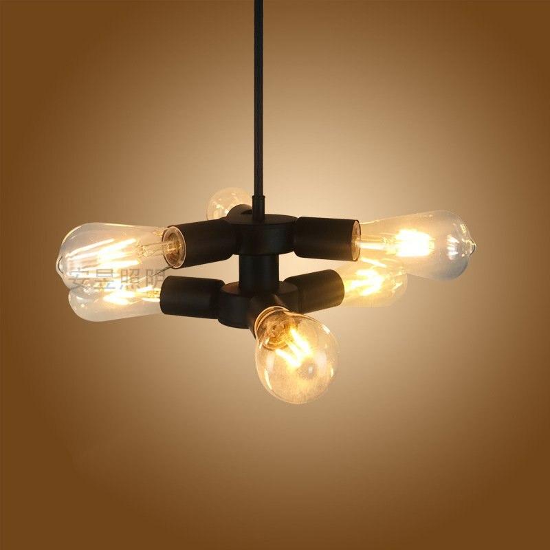 Creative 6 heads Iron Pendant Light Retro Industrial wind E27 Lamp Loft Vintage Hanglamp For Restaurant Bar Kitchen