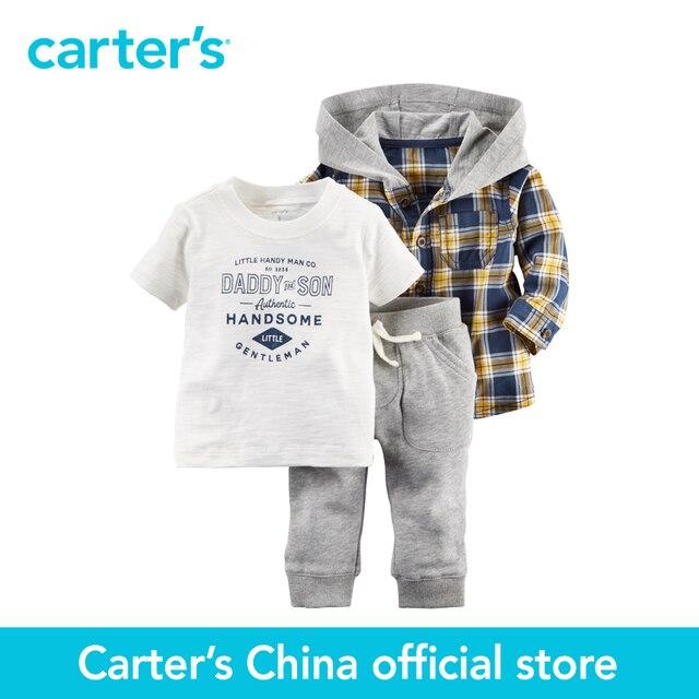 Картера 3 шт. детские малыши детей С Капюшоном Рубашка Комплект 127G189, продавец картера Китай официальный магазин