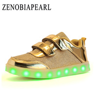 Girls Led Shoes 25 37 Size USB Charging Basket Led Children Shoes With Light Up Kids Casual Luminous Sneakers Shoes