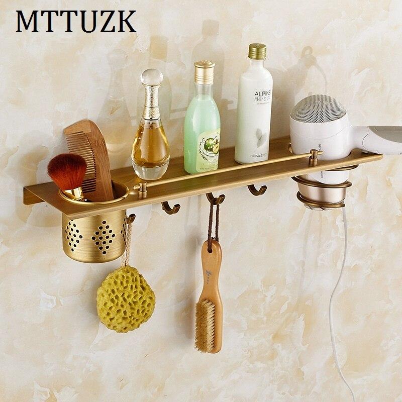 MTTUZK DIY antique brass bathroom shelves Multi function hair dryer rack bathroom makeup stand bathroom accessorie