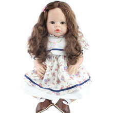 "28"" Silicone Baby Dolls Lifelike Silicone Reborn Girls Doll Alive Infant Toddler Baby Princess Dolls for Children House Play Toy(China)"