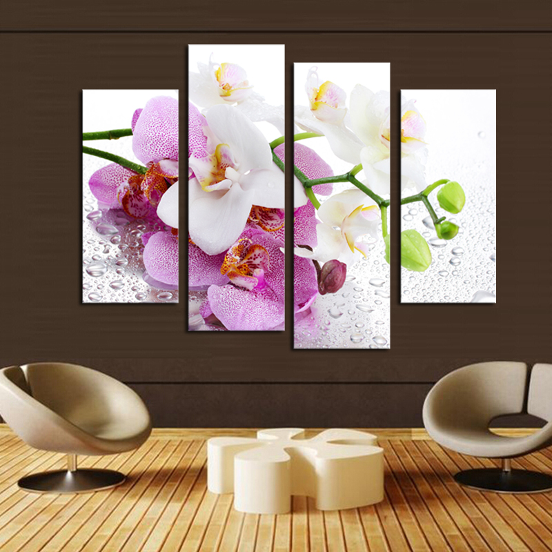 4 Pcs (No Frame) Pink Flowers Wall Art Picture Modern Home Decoration  Living Room Or Bedroom Canvas Print Painting Wall Picture In Painting U0026  Calligraphy ...