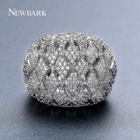 NEWBARK Big Rhombic Hollow Flower Bud Ring White Gold Color Gifts For Women And Mom In