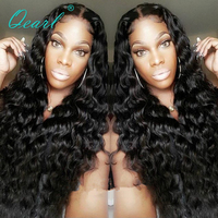 Qearl 180%/200% Thick Density Lace Front Wig Brazilian Deep Curly Hair Wigs middle parting Pre Plucked natural hairline women