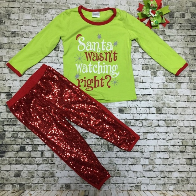 X-mas clothes baby girls Christmas outfits girls baby Santa clothing red sequins pant with bow Santa wasn't watching right