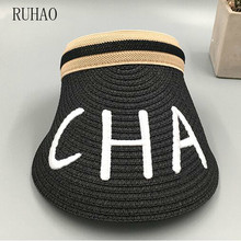 RUHAO 2019 Spring Summer beach hats women Big Wide Brim Straw Sun Visors hat Women Gilr Fashion Empty Top Caps 6 Solid Colors