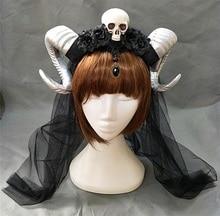 Demon Evil Gothic Lolita The veil Skull Sheep horn Headband Hairband Accessory Cosplay Costumes Halloween Headwear Prop
