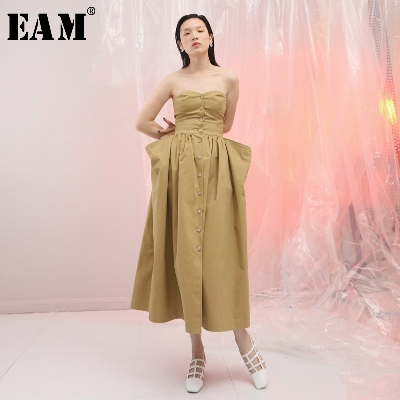 [EAM]2018 New Summer Strapless Waist Big Pocket Fold Split Joint Three-dimensional Button Kahki Loose Dress Women Fashion JF357