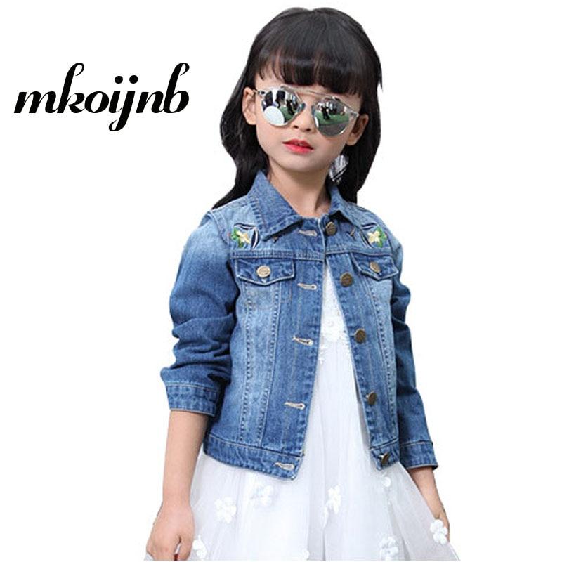 0303009219cb Girls Denim Jacket Flowers Printed Kids Causal Jeans Jackets Coat ...