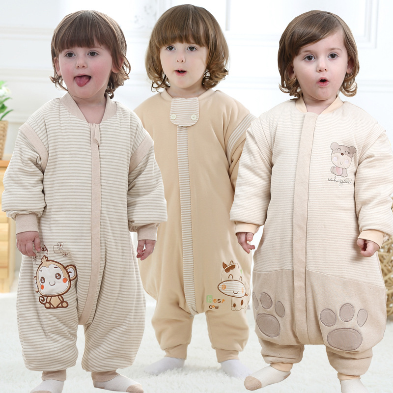 Baby  cotton thin cotton sleeping bag sleeve detachable split air conditioning of children's products of organic  cotton