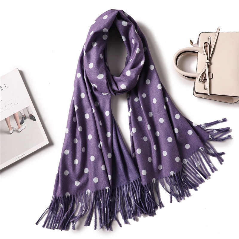 Winter Scarf with One Wave Point and One Solid Color for Women 2019 New Tassels Shawls and Wraps Thick Long Cashmere Scarves