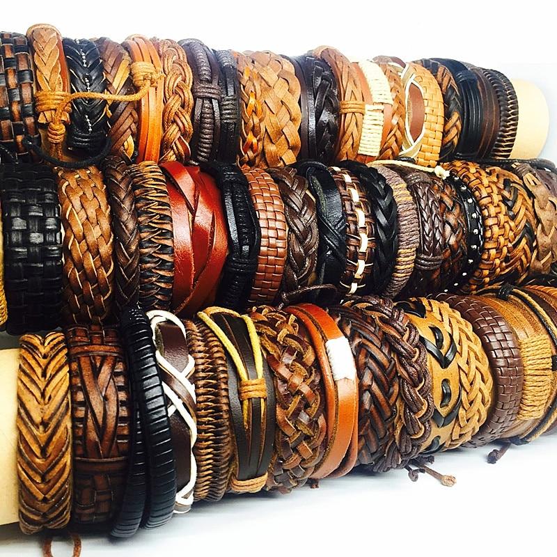 MIXMAX Wholesale mixed styles 100pcs cuff bracelets genuine leather black brown vintage men s women s