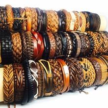 Mixmax 100 pçs pulseiras de couro retro para mulheres masculinas unissex artesanal surfista manguito preto marrom cor pulseira jóias