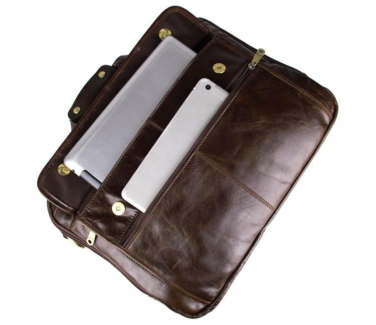 Bestnote Laptop Große echtes Aktentasche Rindleder 7146c Messenger Männer Leder black Umhängetasche Zoll Business Kapazität grey 15 Coffee rqRxz1rw