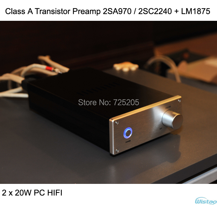 HIFI Amplifier 2x20w  Class A Transistor Preamp 2SA970 / 2SC2240 Plus LM1875 Stereo Audio iwistao 2x20w hifi amplifier stereo