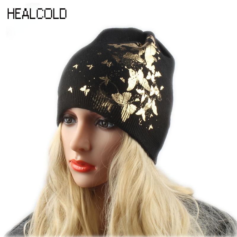 Pâlnii de iarnă moale tricotate pălării din lână pentru femei imprimeu fluture Beanies Femei Căciulite moda pălării
