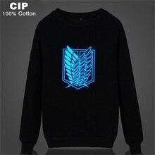 Attack on Titan Sweatshirt Hoodie Glow in The Dark Scout Legion Print Child Coat