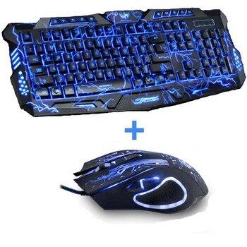 Tri-Color Backlight Computer Gaming Keyboard Teclado USB Wired Full N-Key Game Keyboard for PC Desktop Laptop Russian Sticker เมาส์