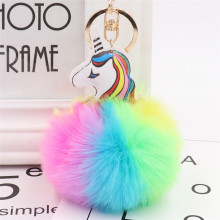все цены на 2019Lovely Unicorn Keychain Fluffy Rabbit Fur Ball Key Chain Pompom Artificial Rabbit Fur Key Ring Women Car Bag Pendant trinket онлайн