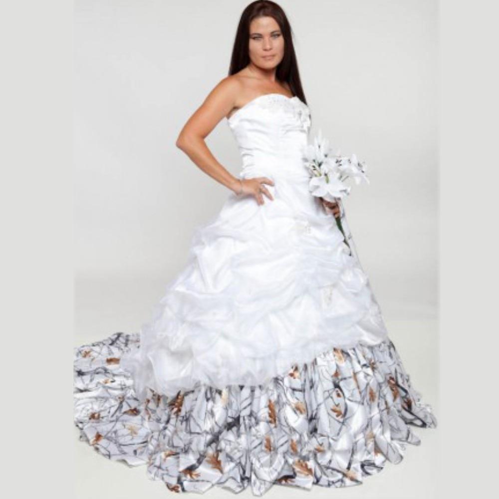 Camouflage Wedding Gowns: Vestidos De Novia Romantic 2016 White A Line Camo Wedding