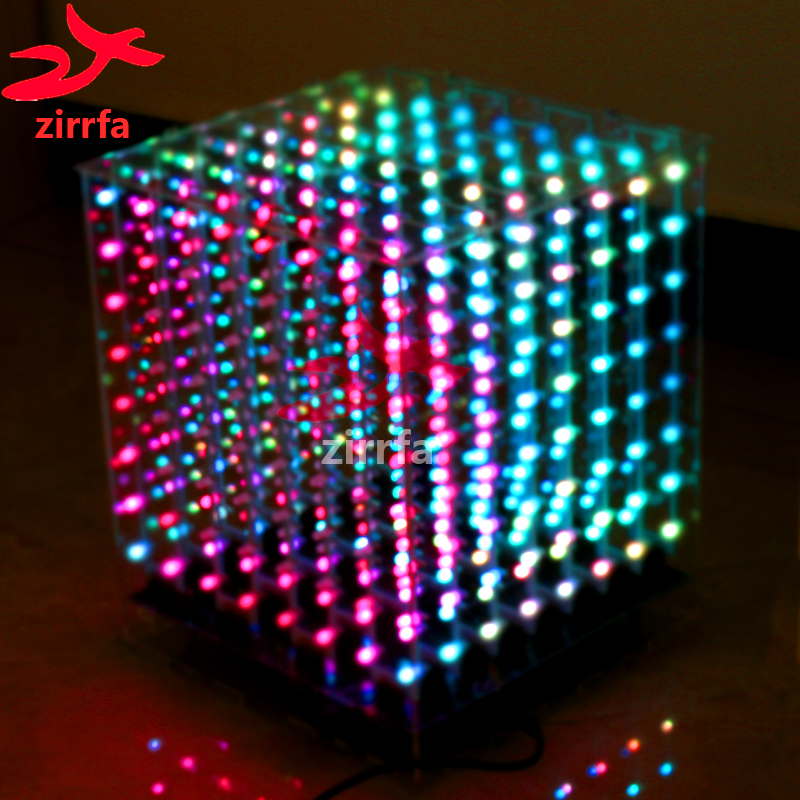 Zirrfa 2018 NEW 3D 8 8x8x8 RGB/Colorful Cubeeds Electronic Diy Kit, Excellent Animations LED Display Christmas Gift For SD Card