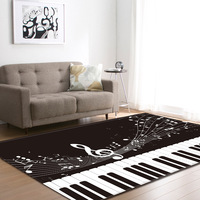 Custom rectangular foot piano carpet Black and white piano silencer carpets for living room rug Piano note key polyester