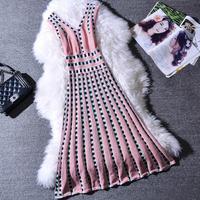 2019 summer V neck Sleeveless Dress Women Pullovers Knit Dress Elegant grid Slim pleated dress