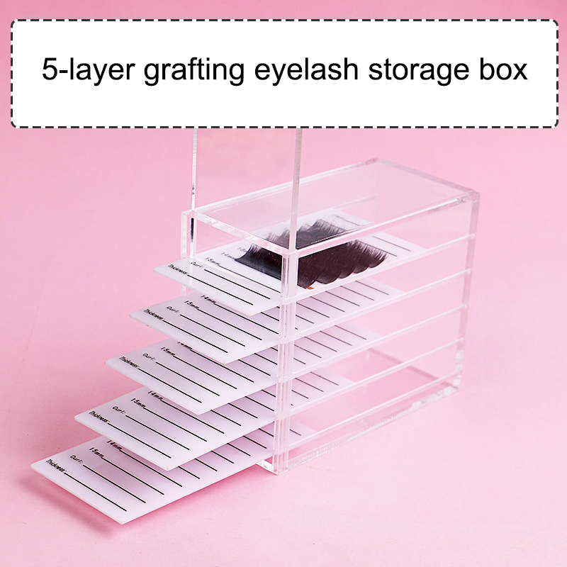 5 Layers Eyelash Storage Box With Scale Makeups Display Container Transparent Box HB88