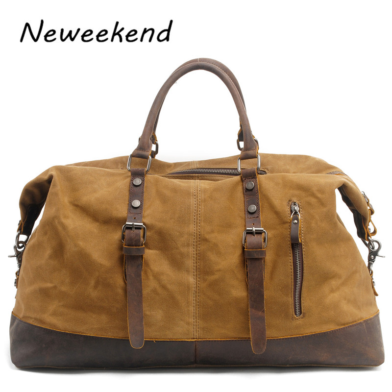 NEWEEKEND Unisex Martexin Original Wax Canvas Leather Waterproof 54cm Large Capacity Luggage Travel Crossbody Handbag MS831-2