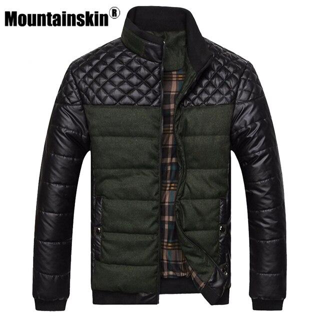 Mountainskin бренд Для Мужчин's Куртки и Пальто для будущих мам 4xl PU лоскутное дизайнер Куртки Для мужчин верхняя одежда зимние модные мужские Костюмы sa004
