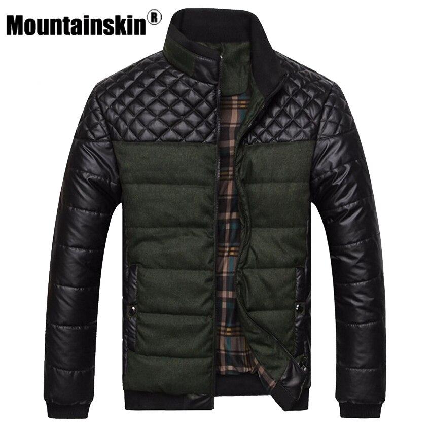Mountainskin 4XL PU Patchwork Designer de Marca Jaquetas e Casacos dos homens Jaquetas Homens Outerwear Roupas de Inverno Moda Masculina SA004