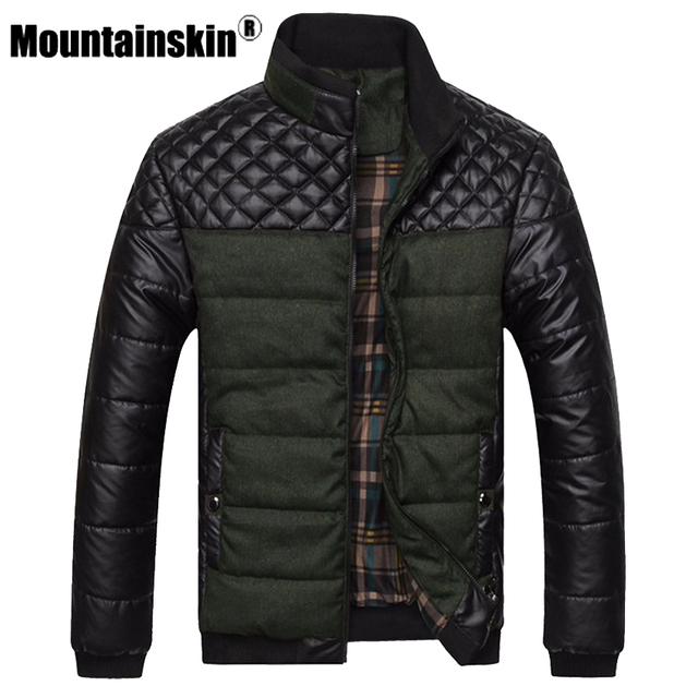 Mountainskin Brand Men's Jackets and Coats 4XL PU Patchwork Designer Jackets Men Outerwear Winter Fashion Male Clothing SA004