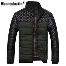 Mountainskin бренд Для мужчин женские куртки и пальто 4XL ПУ лоскутное дизайнерские куртки Для мужчин верхняя одежда зимние модные мужские Костюмы SA004