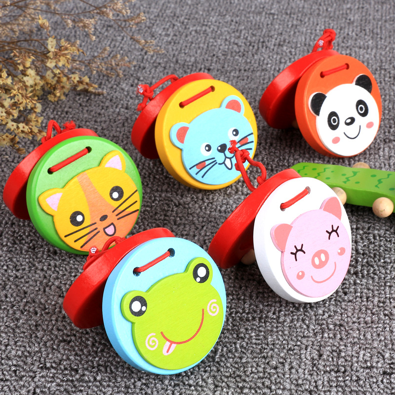 Free Shipping Baby Wood Cartoon Animal Castanets Wooden Toy Color Perception Of Music Instruments Children's Educational Toys