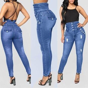 Frauen Herbst Elastische ButtoPlus Lose Loch Denim Casual Kleine Füße Cropped Jeans Dünne Jeans Frau Jeans Mujer Vaqueros Mujer