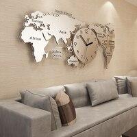 3D Карта мира настенные часы Современный дизайн Акриловые стикеры Большие металлические часы Роскошные Настенные часы домашние декоративн
