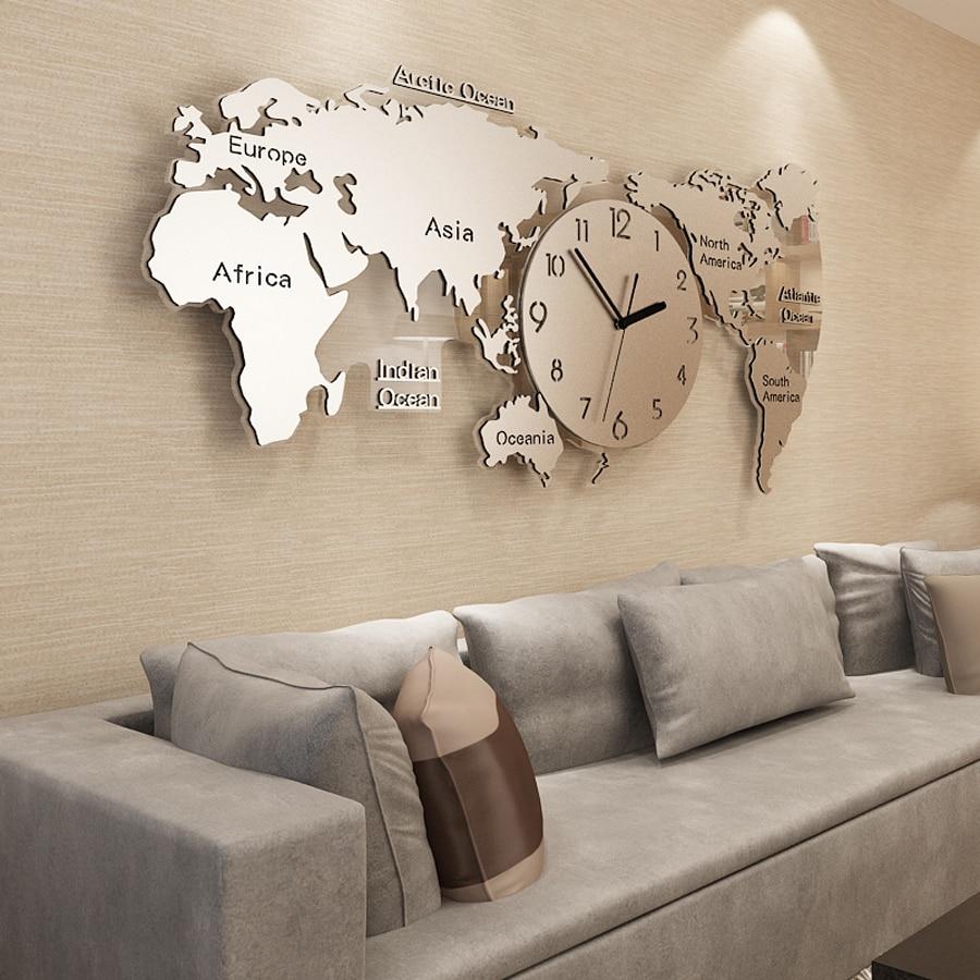 70*34cm 3D World Map Wall Clock Modern Design Acrylic Sticker Large Metal Clock Luxury Hanging Clocks Wall Watch Silent Clock
