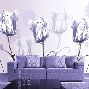 Free Shipping 3D Passion flower wallpaper bedroom TV living room sofa cafe tea house background purple tulip wallpaper mural  free shipping purple nebula wallpaper children s room living room tv sofa bedroom ceiling decoration star globe wallpaper mural