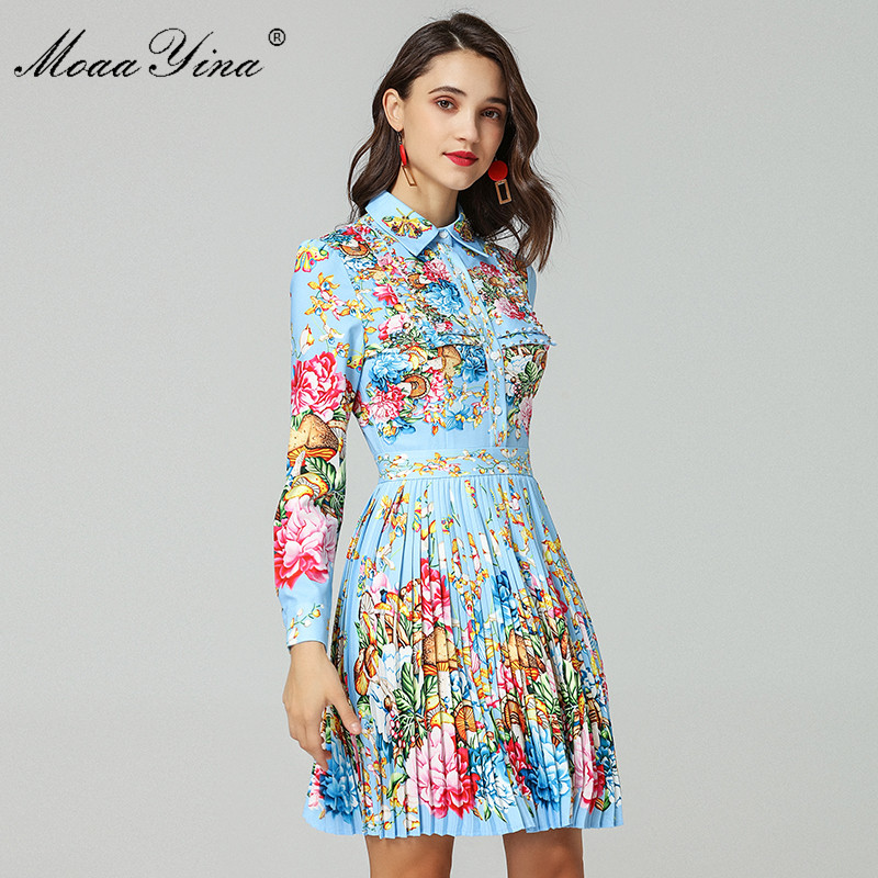 Moaayina 패션 디자이너 런웨이 드레스 봄 여성 긴 소매 턴 다운 칼라 구슬 꽃 인쇄 우아한 pleated 드레스-에서드레스부터 여성 의류 의  그룹 1