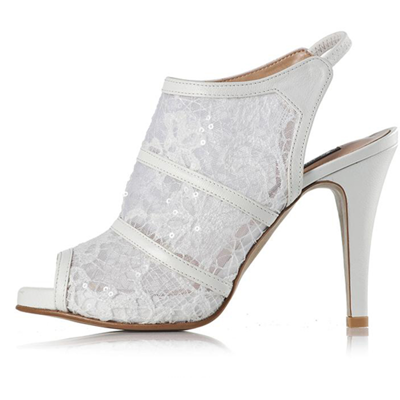 2018 Spring Summer White Lace Bridal Wedding Shoes Cut Out