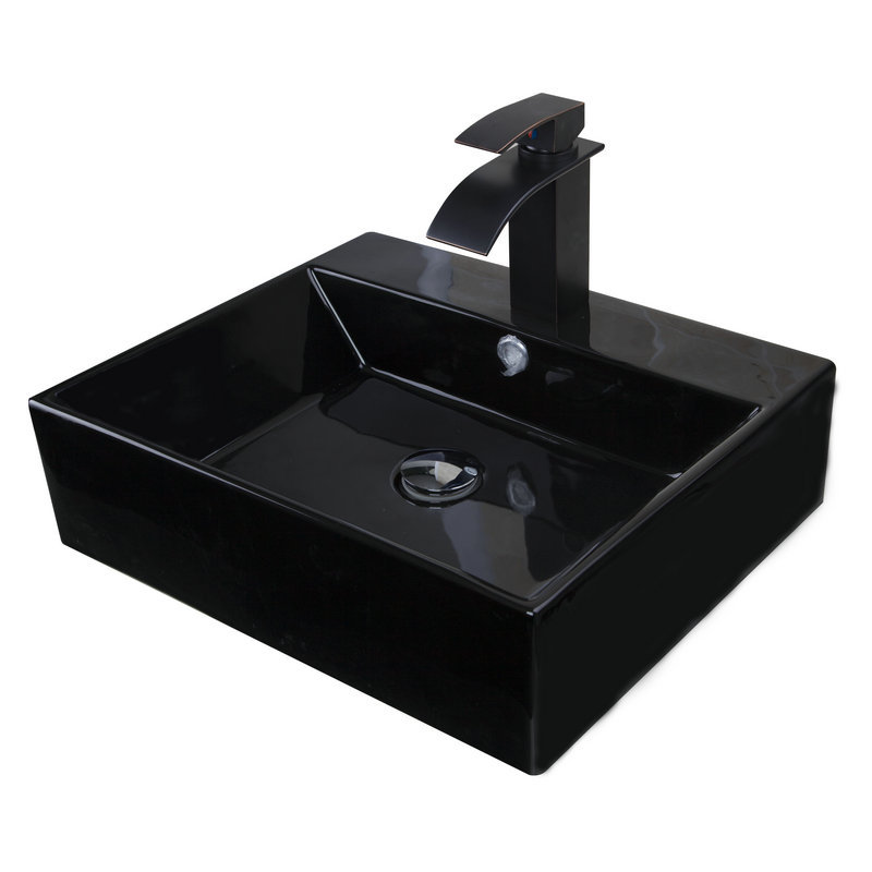 Contemporary square black ceramic round round Black vessel bathroom sink
