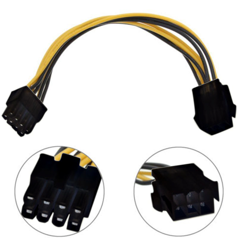 1PC 6 Pin Feamle to 8 Pin Male PCI Express Power Converter Cable CPU Video Graphics Card 6Pin to 8Pin PCIE Power Cable 5pcs lot cpu 8pin female to dual pci e pci express 8p 6 2 pin male power cable 18awg wire for graphics card btc miner 20cm