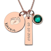 AILIN Baby Feet&Birthstone Necklace Personalized Name and Date Necklace Rose Gold Color New Baby Jewelry Push Present