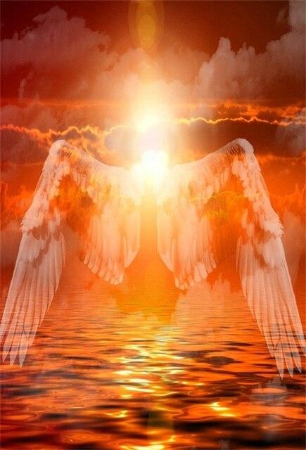 Laeacco Fantasy Arancione Alba Sul Mare Cielo Nuvoloso Angel Wings